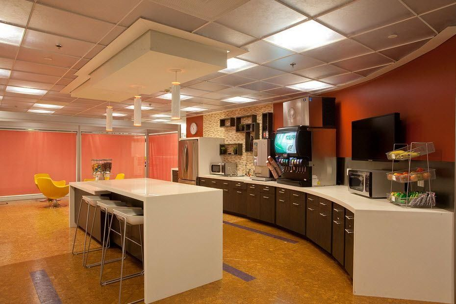 The Company Break Room Don T Like The Colors But Pretty Cool Room Mobilezapp Austin Tx Break Room Room Redesign Taco Bell Headquarters