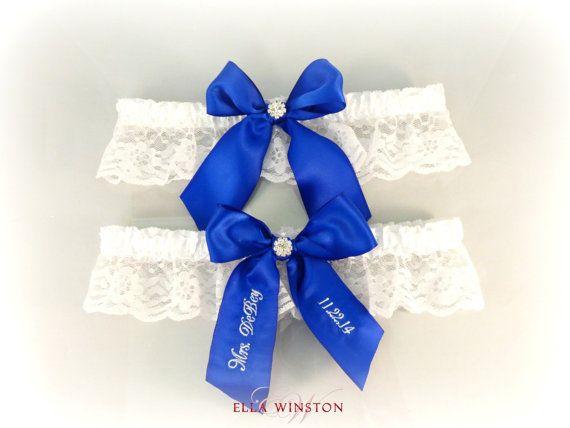 Cobalt Blue Wedding Garter, Embroidered Bridal Garter, Custom Wedding Garter,  Personalized Garter, Something Blue Royal Blue Garter, Garters
