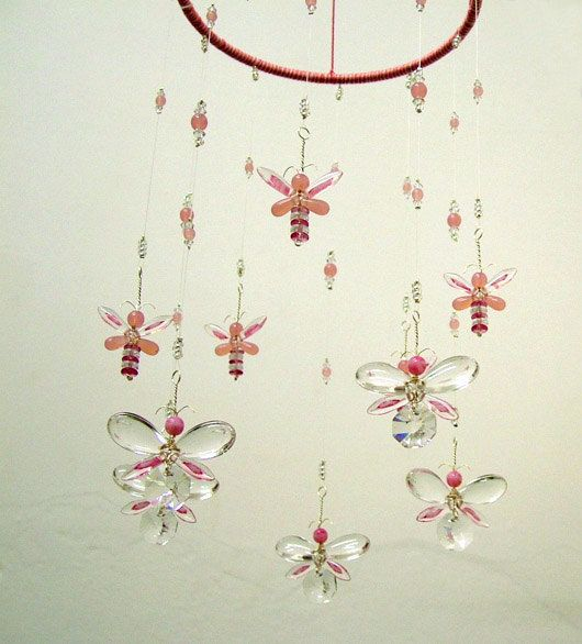 STUNNING! This is the perfect baby gift for a preemie who is waiting to come home! Michelle This dainty Pink butterfly chandelier hanging