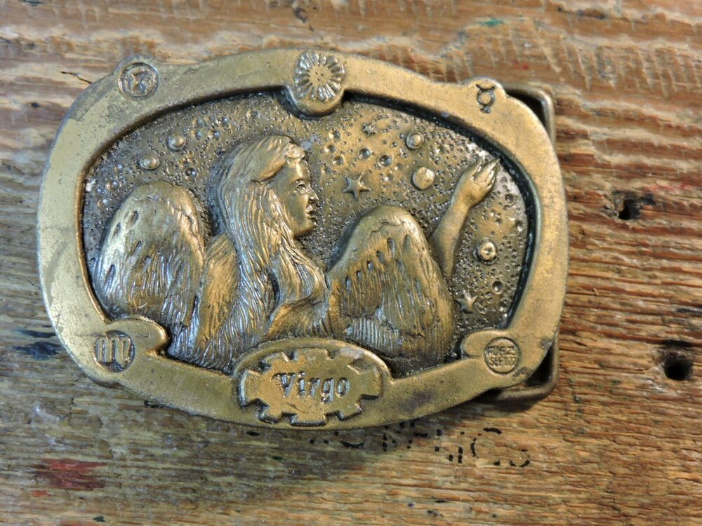 Vintage Virgo Zodiac Horoscope Brass Belt Buckle Astrology Spec Cast Rockford Il Ebay In 2020 Brass Belt Buckles Belt Buckles Virgo Zodiac