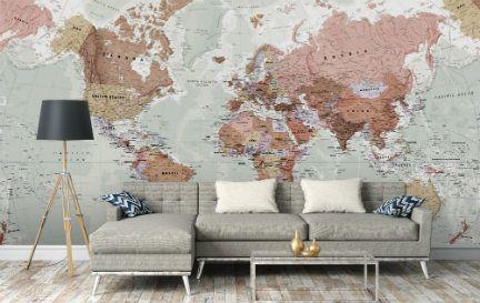 World Map Wallpaper & Wall Murals | Wallsauce CA #worldmapmural