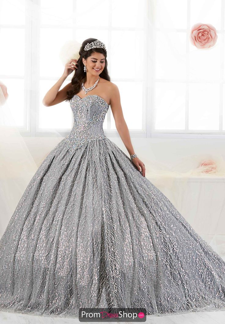 Dress strapless Tiffany Quinceanera Tulle Skirt Ball Gown 26896        Sparkling Platinum