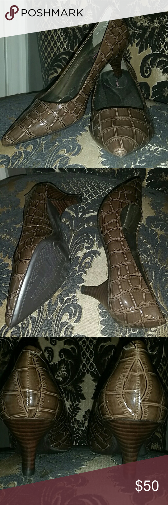 """NWOB Bandolino B-Flexible Heels sz 5.5 Brand new, no box, never worn  Brown, snakeskin embossed pointed toe heel with a low, 2"""" heel, padded insole- built for comfort! I bought these from a store closing event and grabbed the wrong size for myself because the box was mismarked. Bandolino Shoes Heels"""
