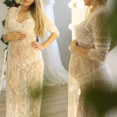 4648dd572a3 White Floral Lace Hollow-out See-through Plus Size Maternity Maxi Dress  Plus Size