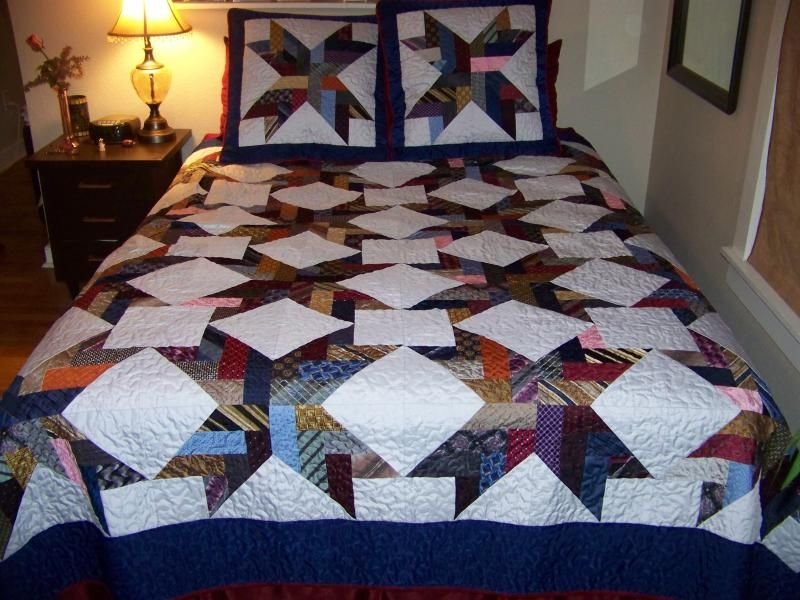 quilts made from neck ties -. | LOG CABIN QUILTS | Pinterest ... : quilt made of ties - Adamdwight.com