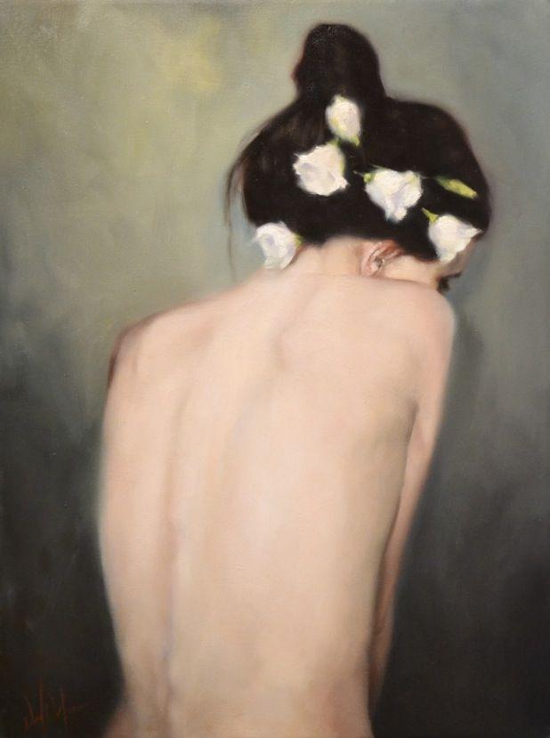 """Daniel DelOrfano """"Bashful"""" (study of Sarah Moon photograph)"""