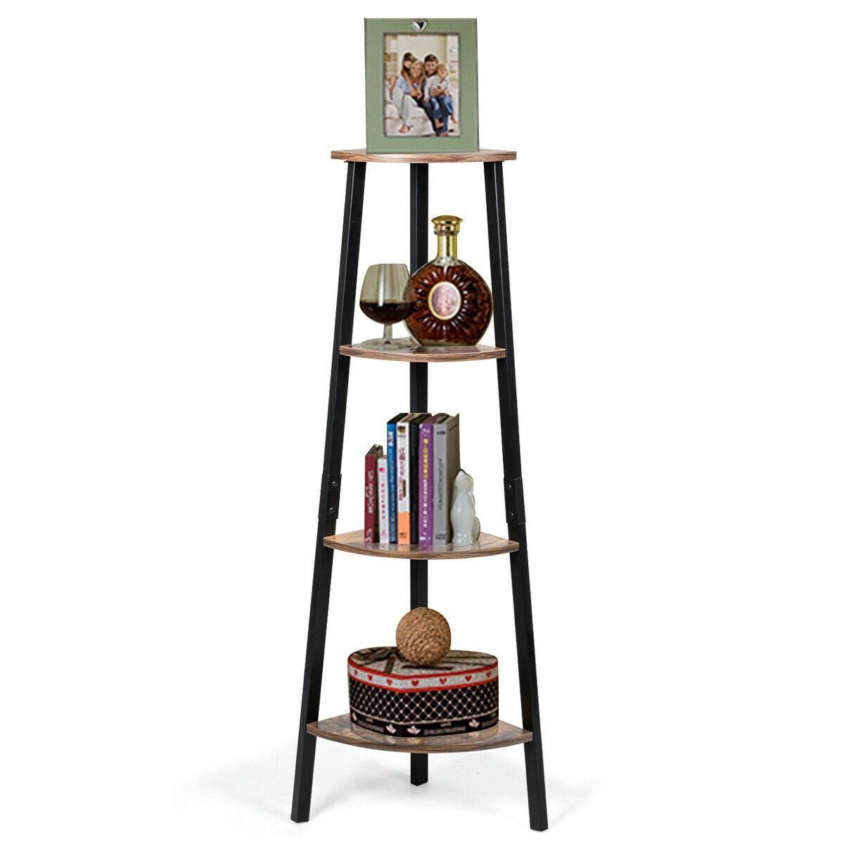 4 Tier Corner Shelf Metal Storage Rack Bookcase Plant Display
