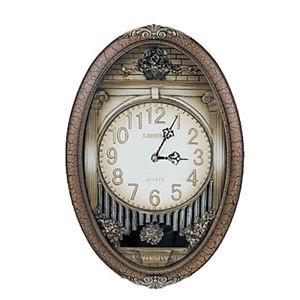 Picture of Classic Design Oval-shaped Polyresin Wall Clock with Pendulum