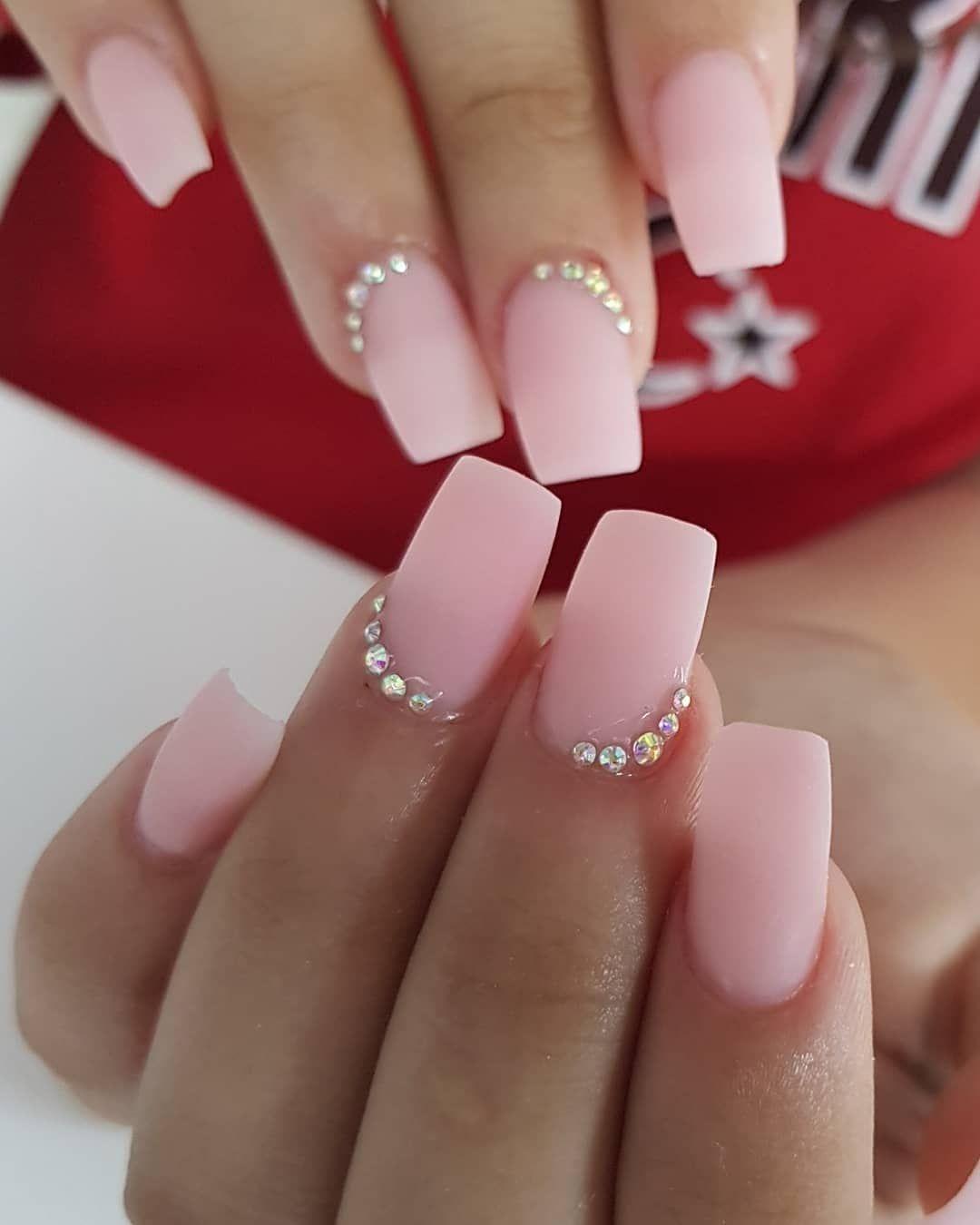 54 Nails Pink Nail Art Designs For Girls In Spring And Summer With Images Pink Nail Art Designs Pink Nail Art Squoval Nails