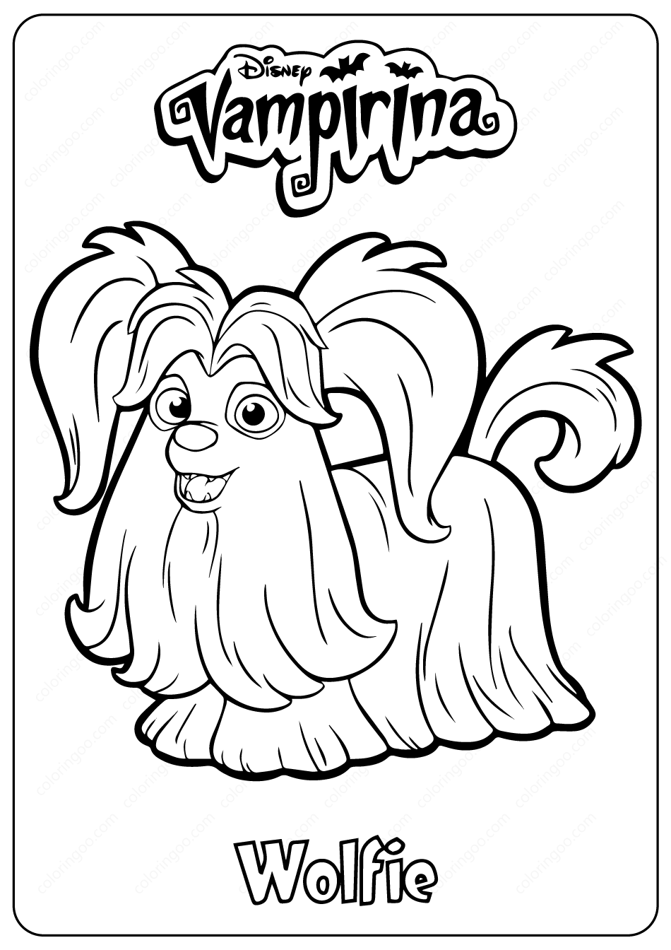 Disney Vampirina Wolfie Coloring Pages  Coloring pages, Halloween