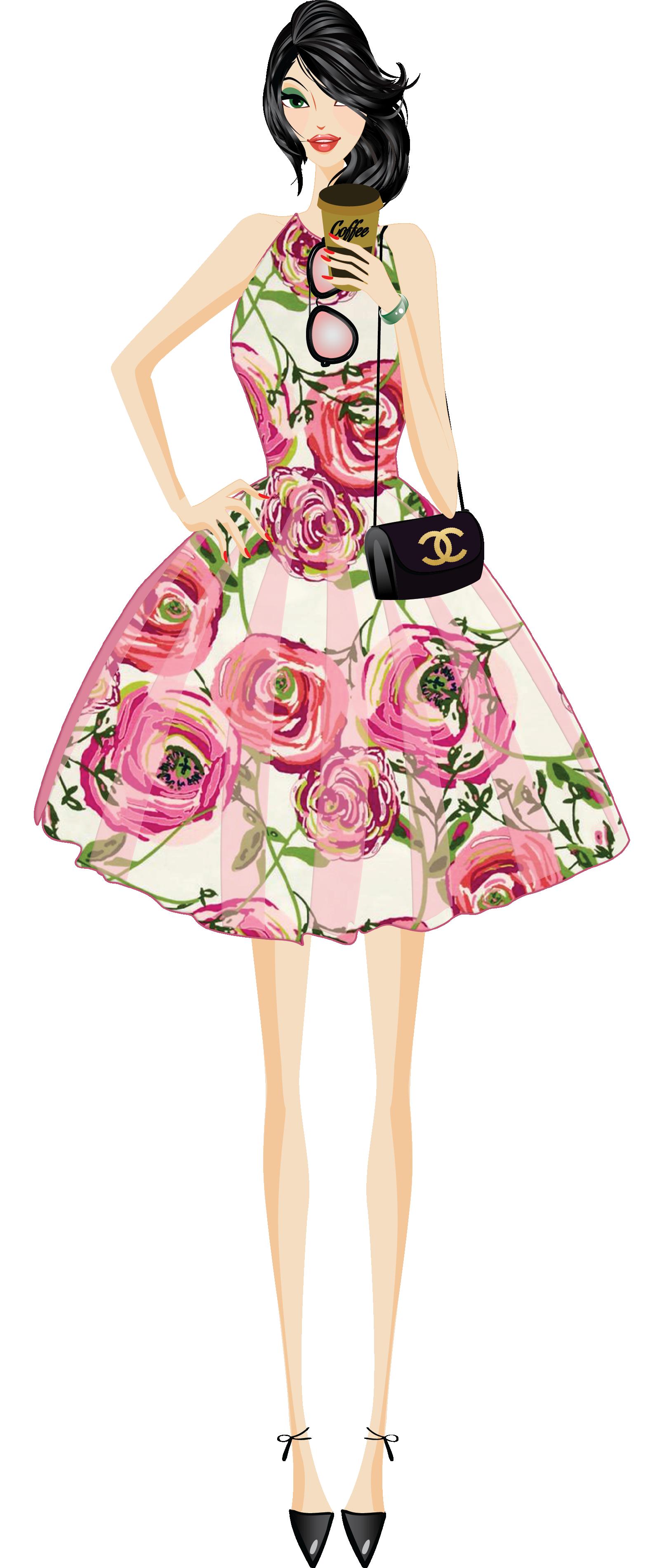 Free Fashion Clipart: Fashion Girl Clip Art Digital Paper Paper Doll Shoes