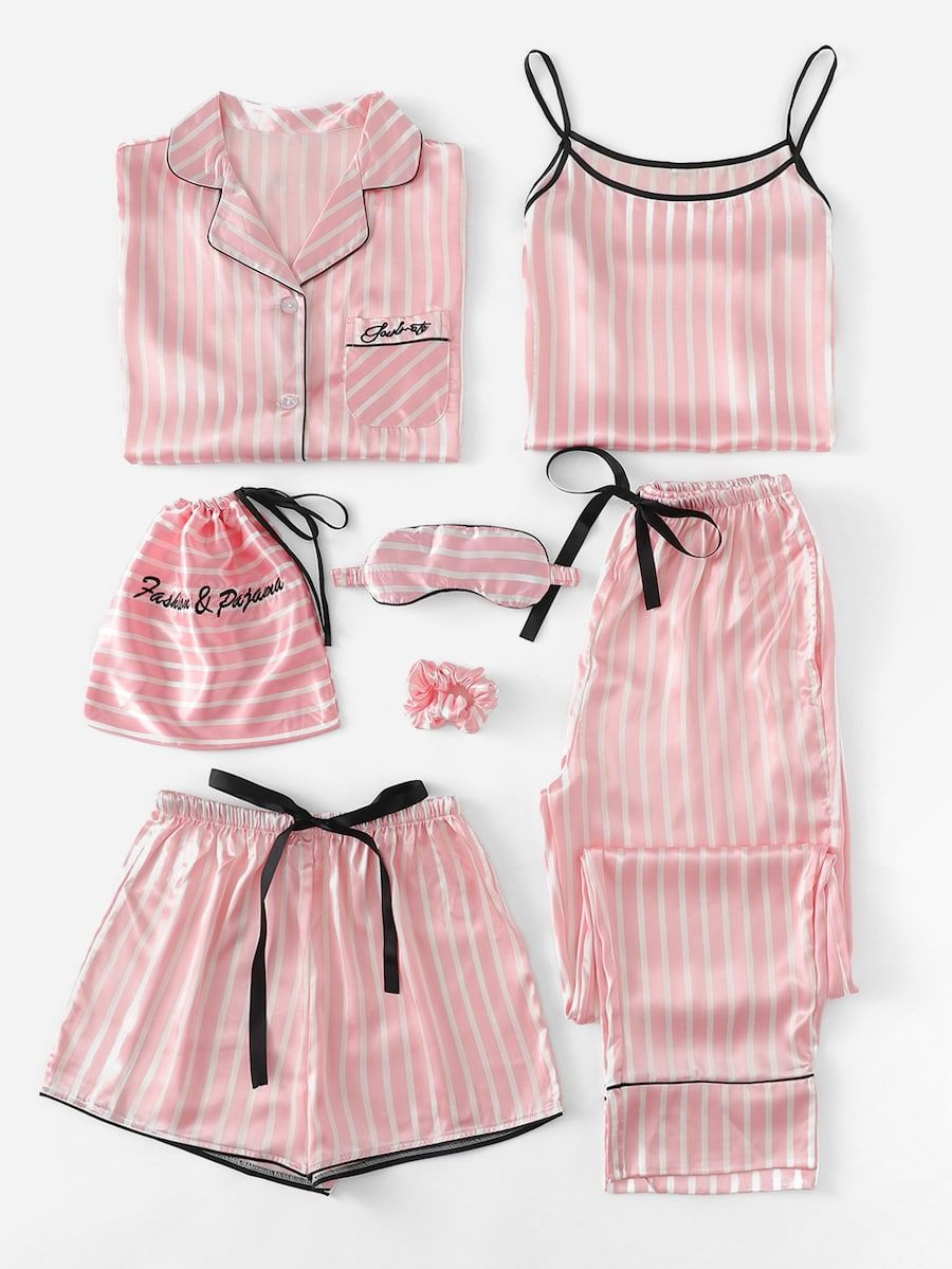 b7ab1fe590 7Pcs Letter Embroidered Striped PJ Set With Shirt -SheIn(Sheinside ...