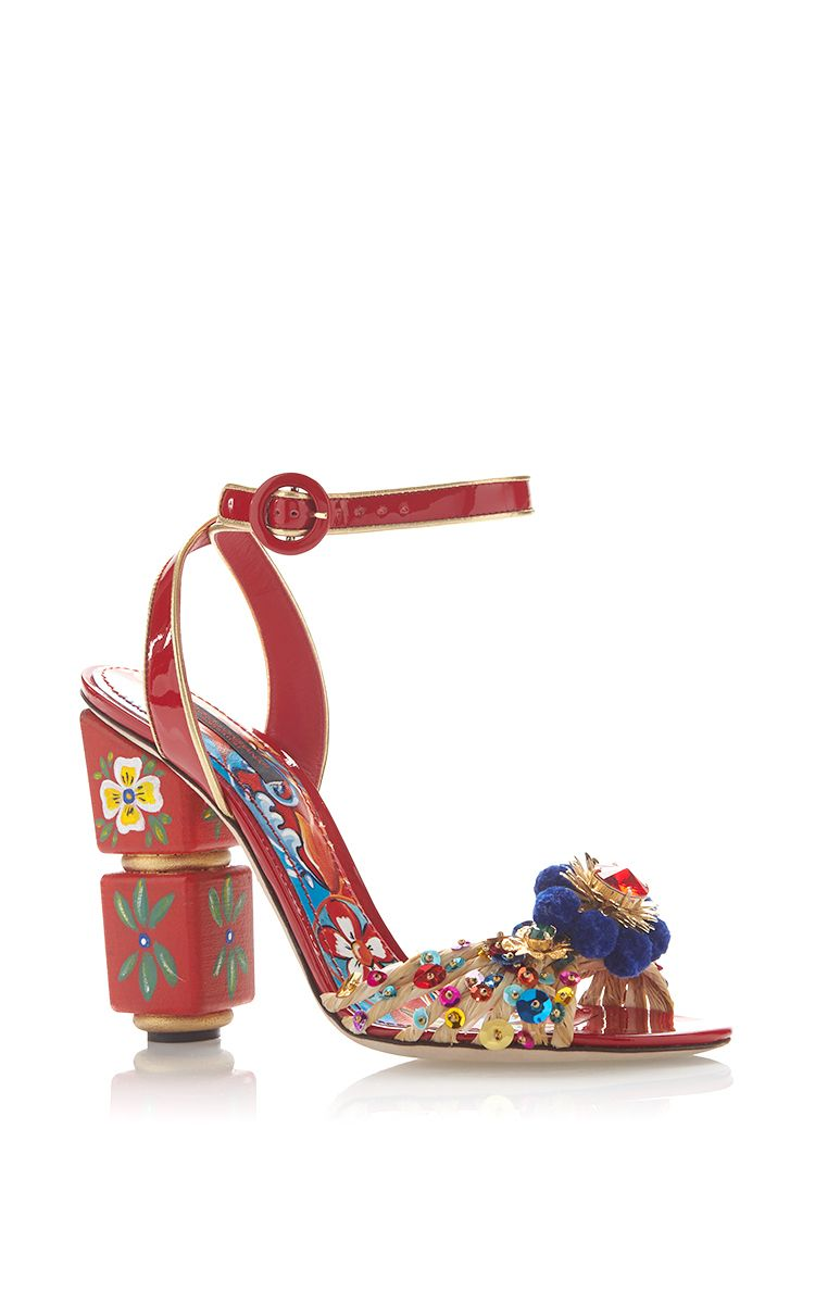 Red Painted Sandals With Pom Pom And Sequined Toe by DOLCE & GABBANA Now Available on Moda Operandi