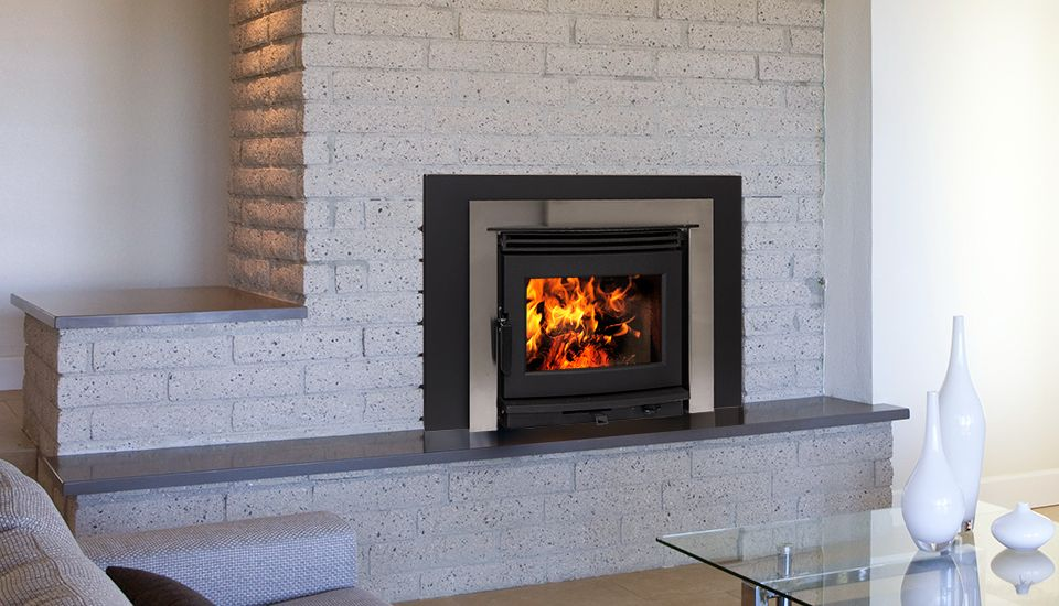 Pacific Energy Neo 1 6 Fireplace Insert With Stainless Contemporary Surround Energy Wood Fireplace Wood Heat