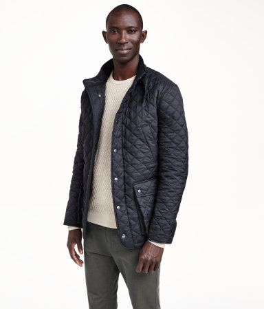 Lightly Padded Dark Navy Blue Quilted Jacket With Corduroy Lined