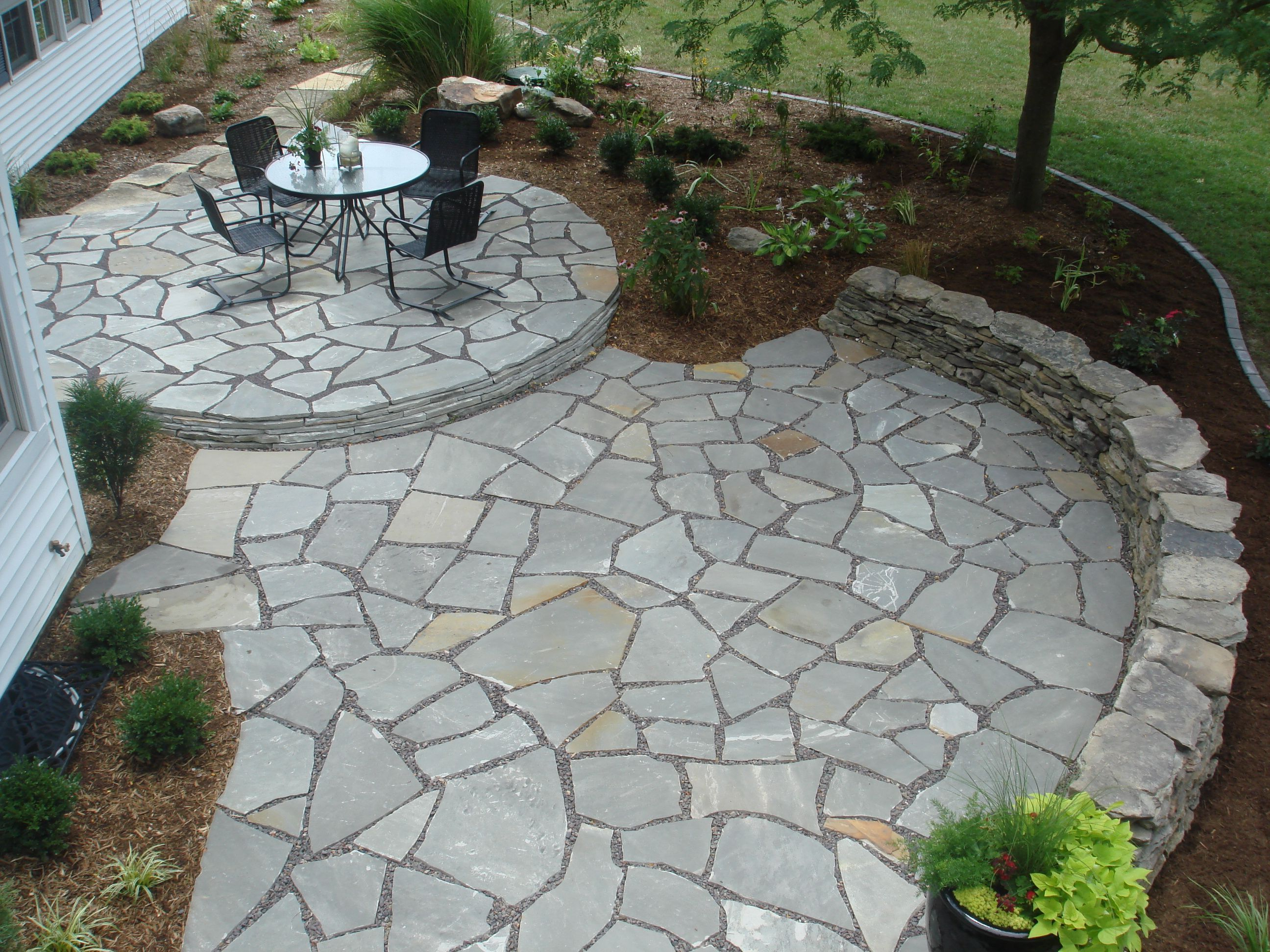 Lovely Dry Laid Flagstone Patio | Stone Patio Cost | Diy Stone Patio Ideas | Stone  Patio Ideas On A Budget | Backyard Stone Patio Design Ideas | How To Build  A ...