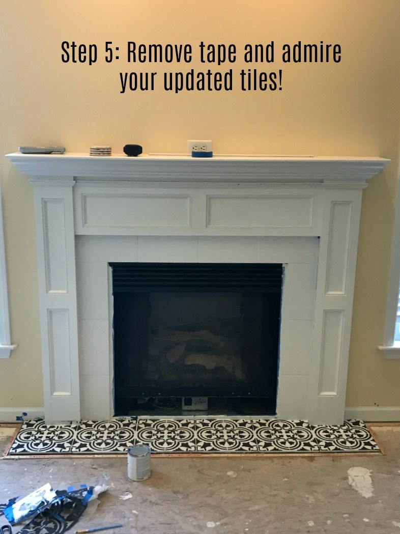 Fireplace makeover stencil tile using chalk paint patchwork fireplace makeover stencil tile using chalk paint dailygadgetfo Choice Image
