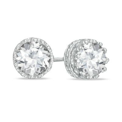 6 0mm Lab Created White Sapphire Crown Earrings in Sterling Silver