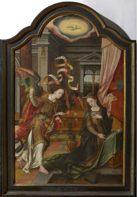 De Verkondiging, met links de Geboorte en rechts de Besnijdenis | Antwerpen[deelgemeente], Maagdenhuismuseum | onbekend (kunstschilder), Date: 1501 - 1600, Lombard, Lambert (kunstschilder) (vroegere toeschrijving)
