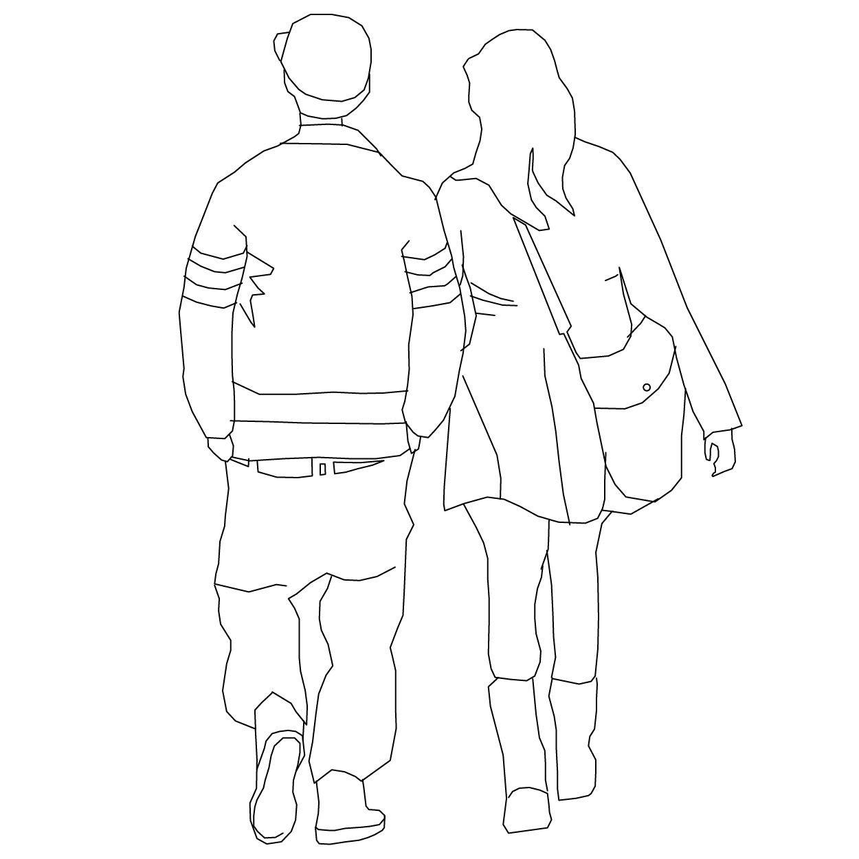 Pair Walking Away Ii Line Art Drawings Drawing People Art Drawings Simple