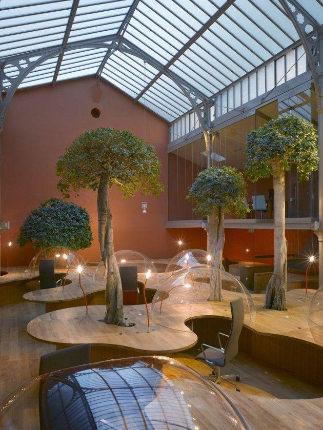 Inspiring offices bubble desk landscape interior design for Office garden design