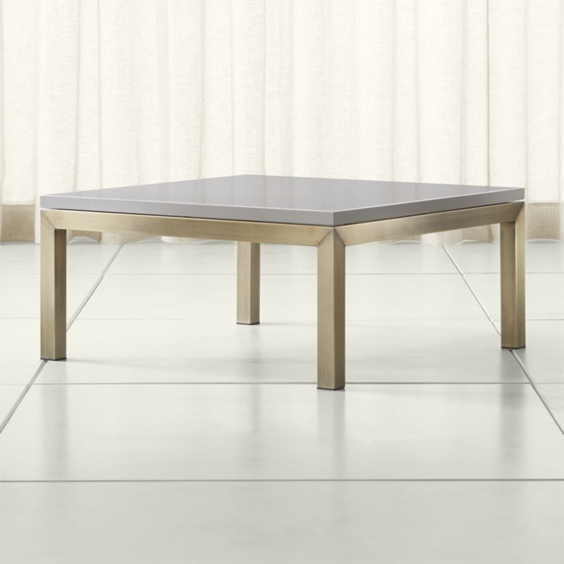 Solid Stainless Steel Coffee Table: Parsons Grey Solid Surface Top/ Brass Base 36x36 Square