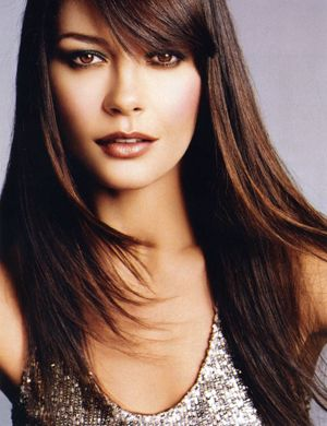Catherine Zeta Jones Sideswept Bangs Hair Beauty Catherine Zeta Jones Beauty