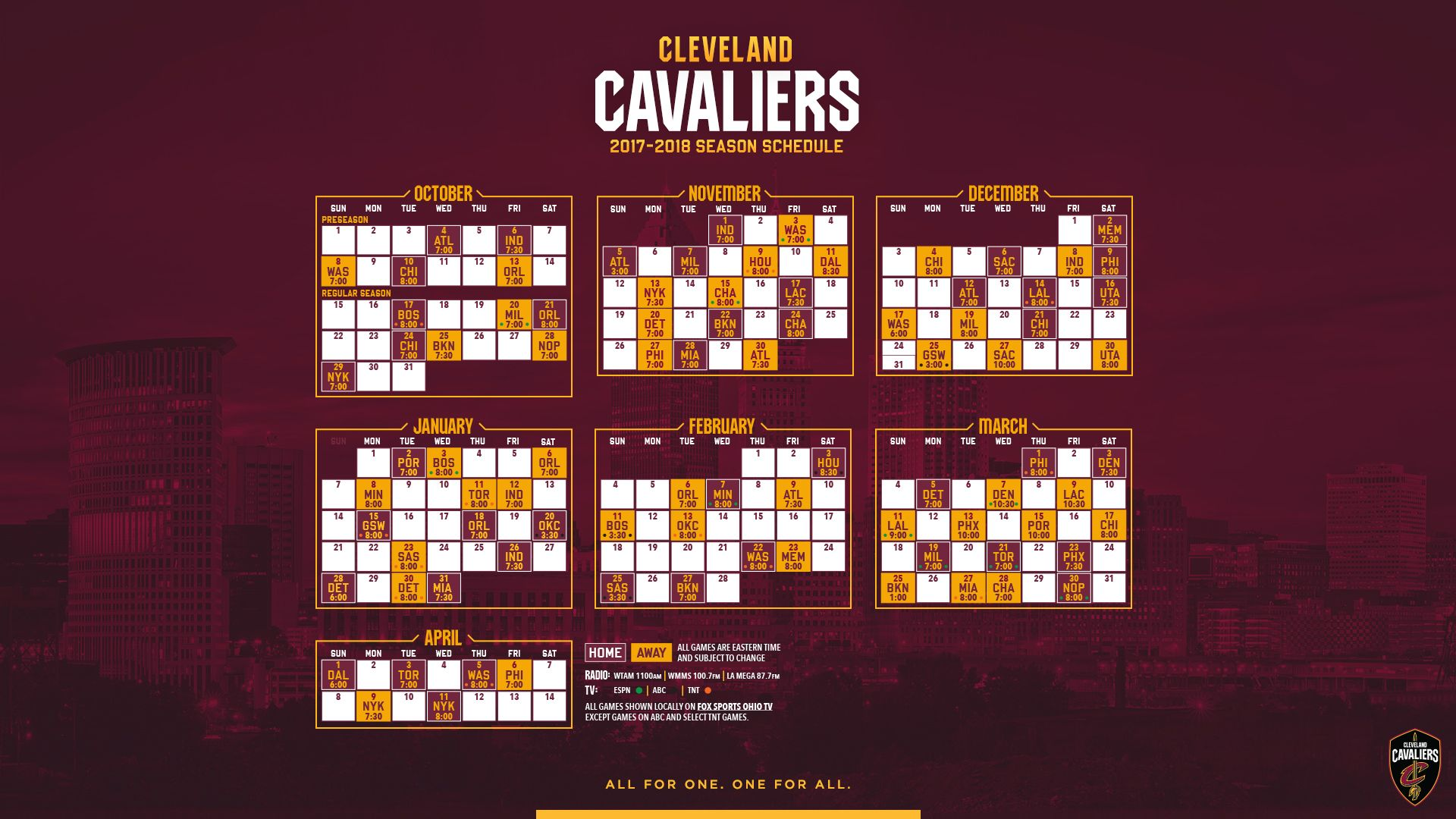 cleveland cavaliers 2017-18 schedule wallpaper | wallpapers