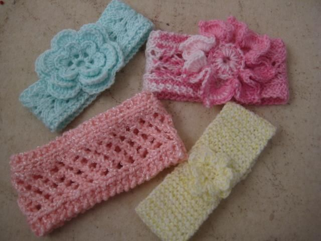 Knitted Baby Headbands Knitting Four New Knit Baby