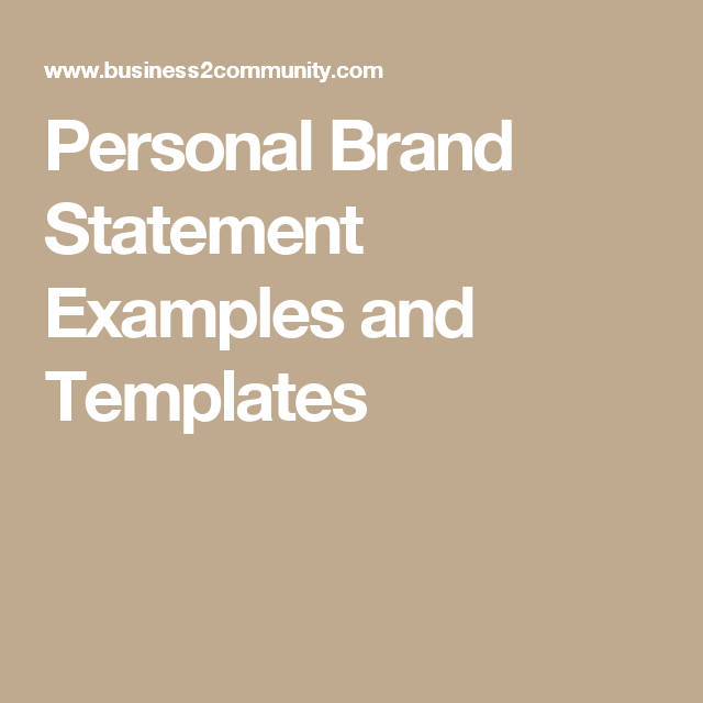 Personal Brand Statement Example And Template Branding Your