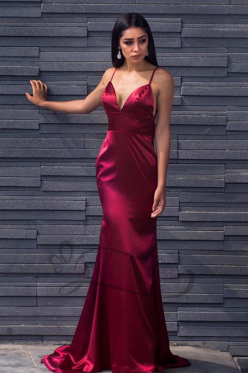Sexy straps burgundy mermaid long evening dress in ropes