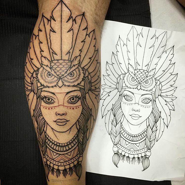Cabeça De Coruja Tatuagem Tatuagem Feminina Panturrilha E
