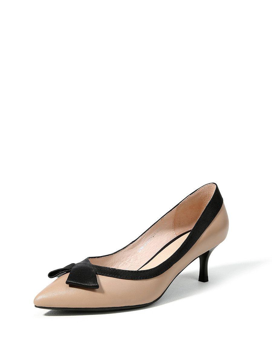 #AdoreWe #StyleWe Heels - Designer FAICCIA Apricot Leather  Bowknot Stiletto Heel Dress Heels - AdoreWe.com