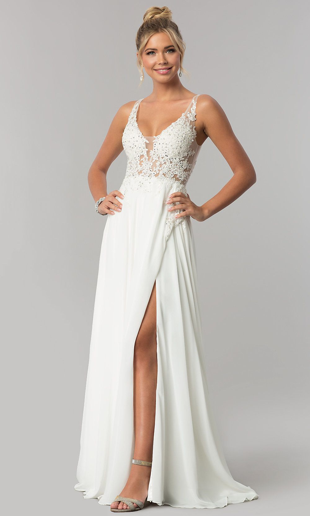 Corset-Back Long Faux-Wrap Prom Dress by PromGirl
