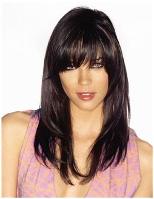 Lea Michele's Long, Straight, Layered, Brunette Hairstyle with Bangs is a chic way to style straight hair. Description from hairstylegalleries.com. I searched for this on bing.com/images