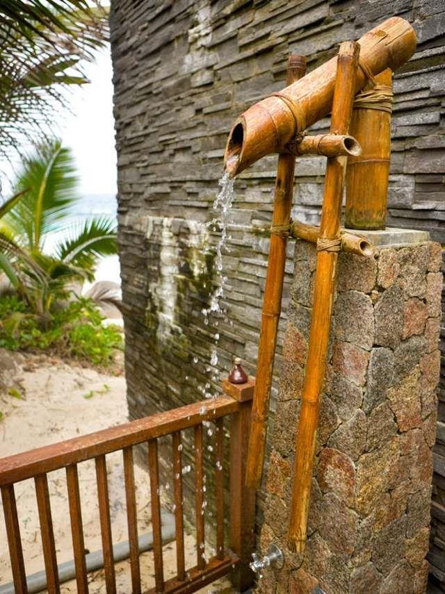 exotisch bambus garten dusche steinwand naturstein garten und haus ideen f r mich. Black Bedroom Furniture Sets. Home Design Ideas
