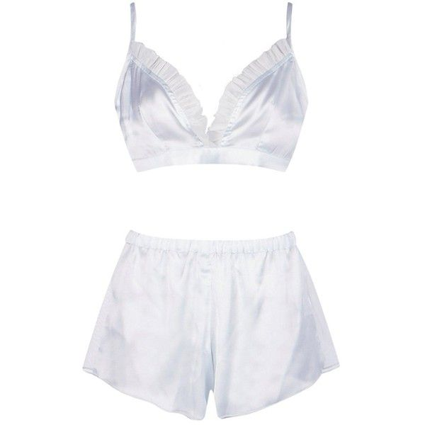 cc1703aae8 Boohoo Kelly Satin Mesh Bralet And Short PJ Set ( 16) ❤ liked on Polyvore  featuring intimates