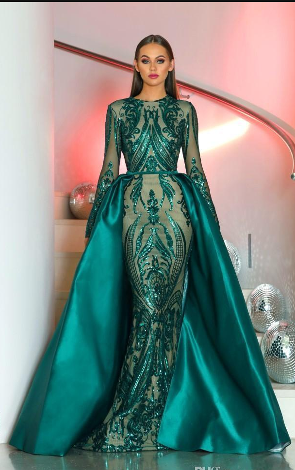 d4b85ea4d2271 2019 的 Saudi Arabia Long Sleeves Mermaid Evening Dresses Dubai ...