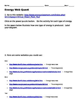 Energy WebQuest | science... | Science, Activities, Worksheets