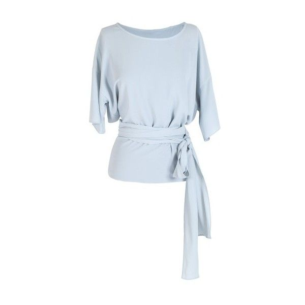 Anne Valérie Hash Cross Wrap Light Blue Blouse (4,965 INR) ❤ liked on Polyvore featuring tops, blouses, shirts, blusas, frilly blouse, loose fitting shirts, ruffle shirt, loose shirts and wrap blouse