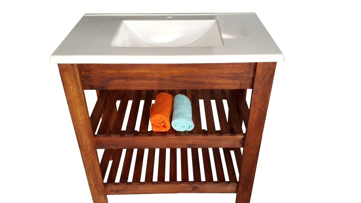 Vanitory madera maciza deck bacha mueble de ba o - Muebles bano madera maciza ...