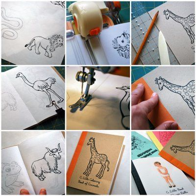 Diy Printed Animals Hand Bound Coloring Book W Kraft Paper Cover Bright Contrasting Color Stripe Spi Diy Coloring Books Coloring Books Paper Craft Tutorials