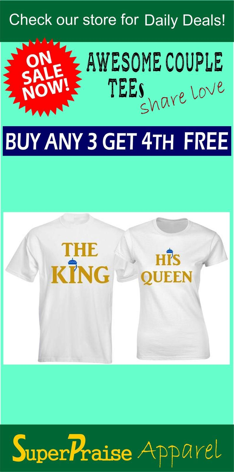 2afb6e2c85 King Queen Shirts His and Hers Couple Matching Gift Husband Wife T ...