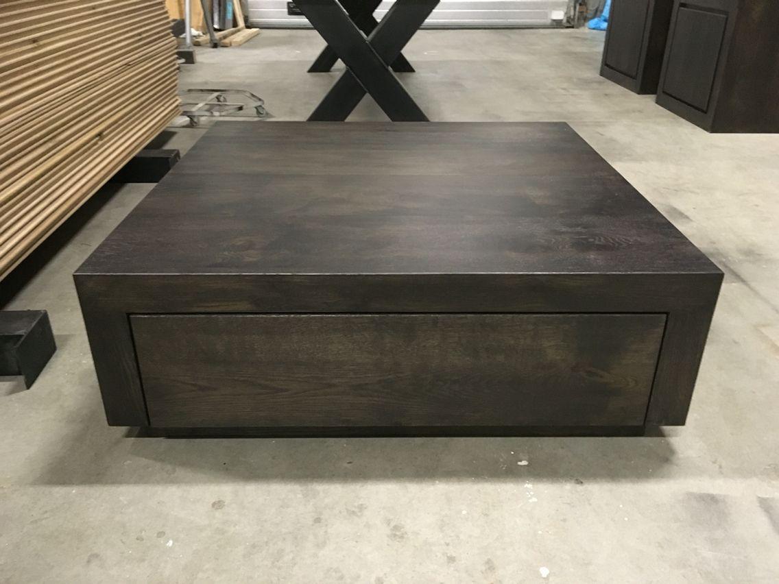 Massief eiken salontafel blok met laden kaldenbach meubels
