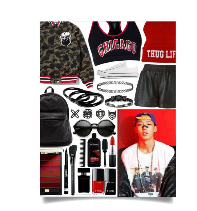 """""""We gon get it pop it we gon we gon get it pop it"""" by schnpri ❤ liked on Polyvore featuring Marc Jacobs, Sea, New York, Converse, Furla, Topshop, Bliss Diamond, MAC Cosmetics, L'Oréal Paris, TRESemmé and Narciso Rodriguez"""