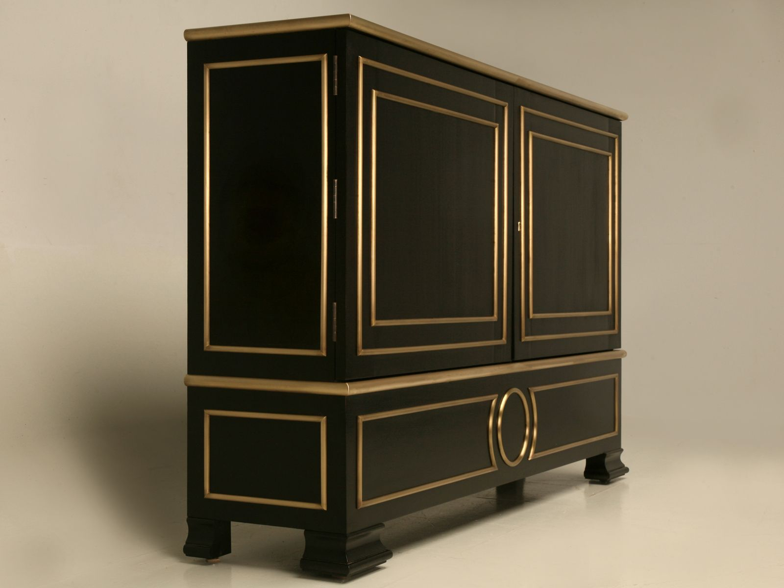 Reproduction Hand Made Ebonzied Buffet with Bronze Trim