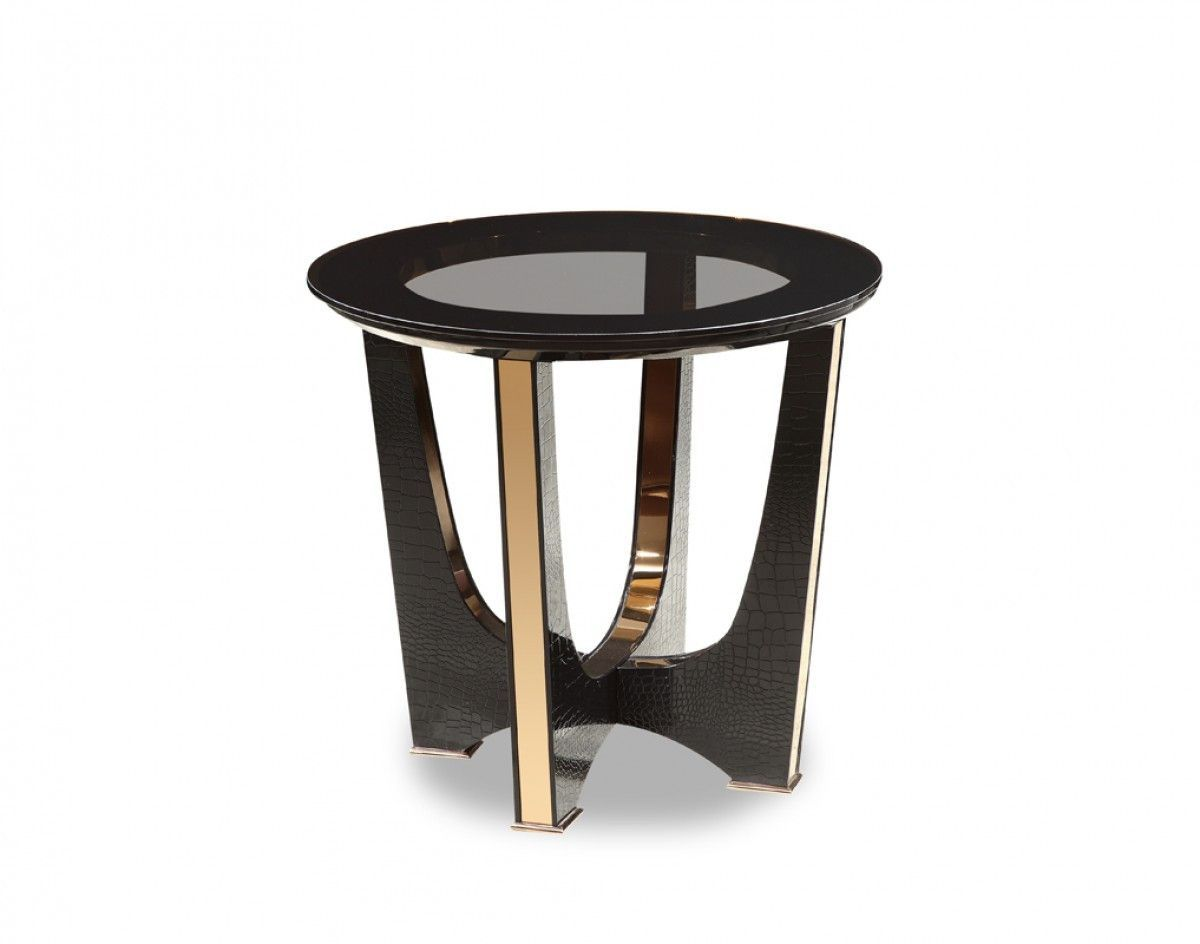 A X Talin Modern Black Crocodile Rosegold End Table Vgunck813 60 Black Glass Side Table End Tables Gold End Table
