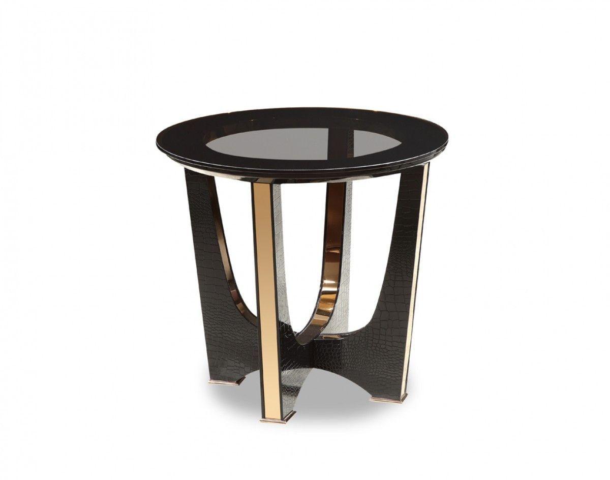A X Talin Modern Black Crocodile Rosegold End Table Vgunck813 60 Black Glass Side Table End Tables Gold End Table