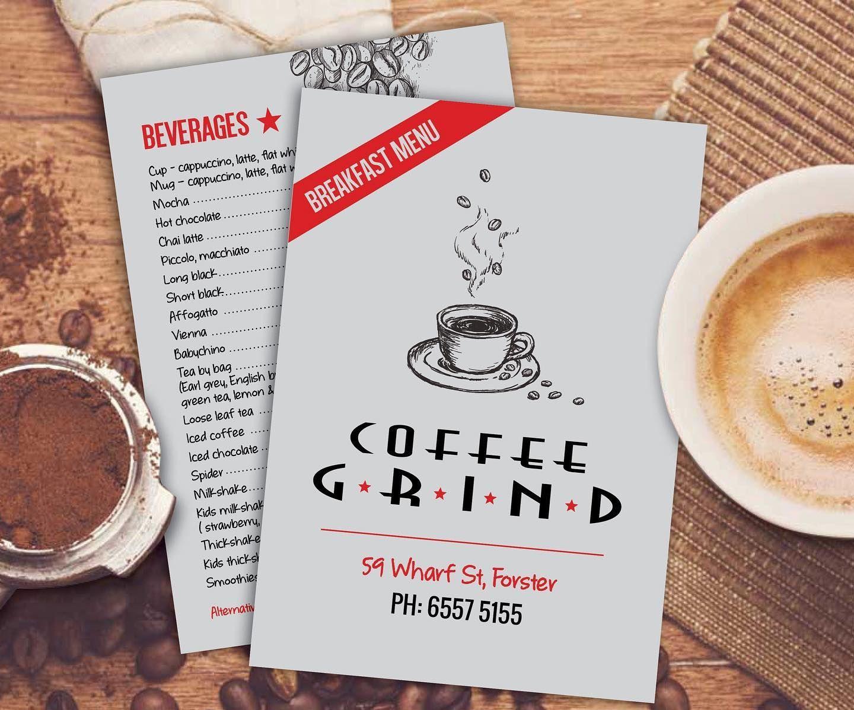 Coffee grind new look menu design forster nsw