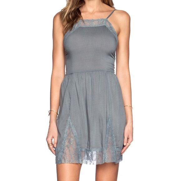 5f51010dda8a Free People lace inset slip dress New with tags, color is vapor blue but  looks more gray as seen in picture. Free People Dresses Mini